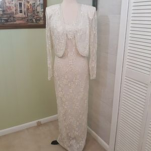 RARE vtg beaded evening wedding dress sz Small
